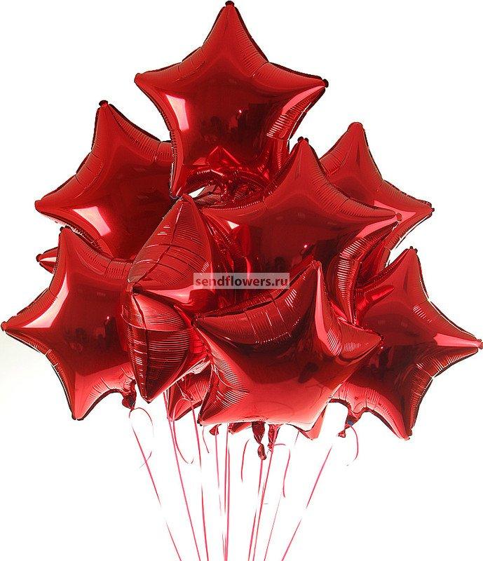 Фото букета шаров из красных звездочек