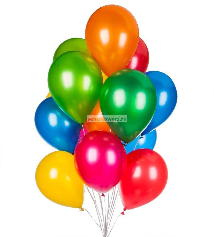 Фото букета из недорогих и разноцветных шариков