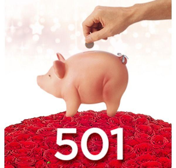 Картинка с копилкой и 501 розой