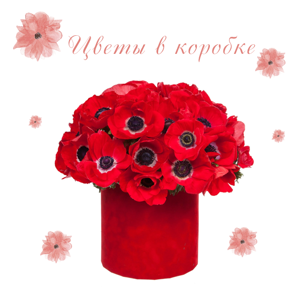 Фото композиции из цветов в коробке