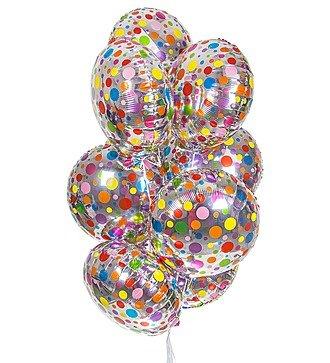 """Букет шаров """"Разноцветные точки"""" (9 или 18 шаров)"""