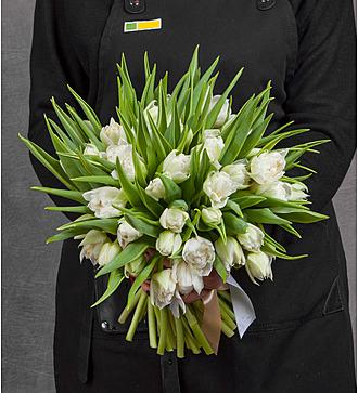Букет из пионовидных тюльпанов Du White (25, 51 или 101)