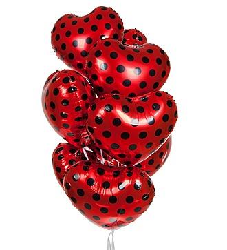"""Букет шаров """"Красные сердца"""" (9 или 18 шаров)"""