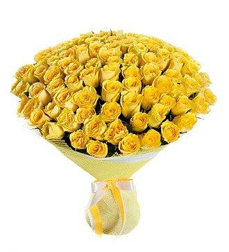 """Букет из 101 желтой розы """"Ты мое Солнце"""""""