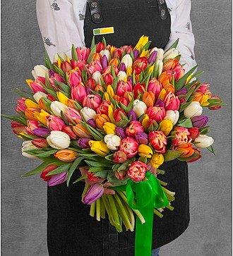 Букет из тюльпанов «Краски любви» (75 или 101)