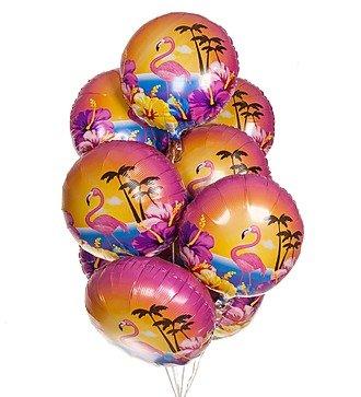 """Букет шаров """"Фламинго и гибискусы"""" (9 или 18 шаров)"""