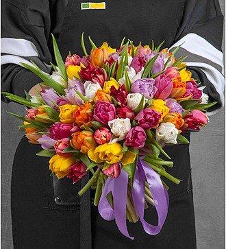 Букет из разноцветных пионовидных тюльпанов (25, 51 или 101)