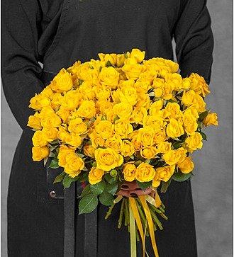 Букет из кустовых жёлтых роз (25, 51 или 101)