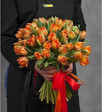 Букет из пионовидных тюльпанов Orange Princess (25, 51 или 101)