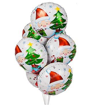 """Букет шаров """"Дед Мороз с подарками"""" (7 или 15 шаров)"""