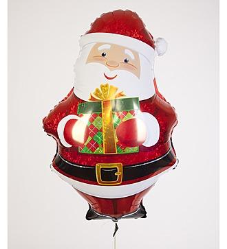 """Воздушный шар """"Дед Мороз с подарком"""" (76 см)"""