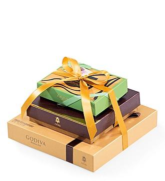 3 подарочные коробки с шоколадом Godiva