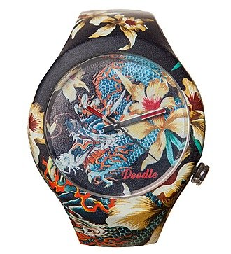 """Часы Doodle """"Орхидеи и дракон"""""""