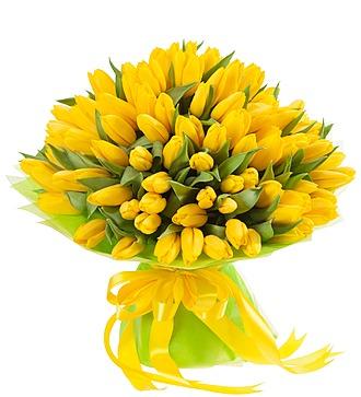 Букет из тюльпанов «Солнечный сюрприз» (25, 51, 101)