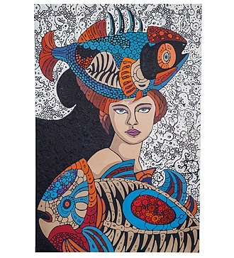 "Авторская картина ""Дама с рыбами"" (75 Х 110 см)"