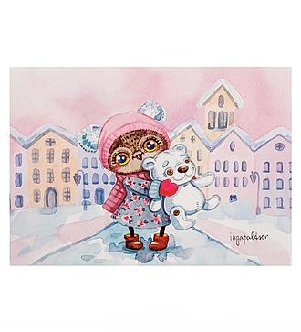 """Почтовая открытка """"Снежный город"""""""