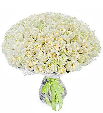 """Букет из 101 белой розы """"Белое солнце"""""""