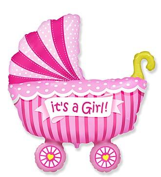 """Воздушный шар """" Коляска для девочки"""" (102 см)"""