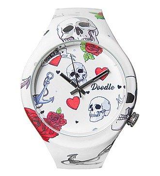 """Часы Doodle """"Сердце и череп"""""""