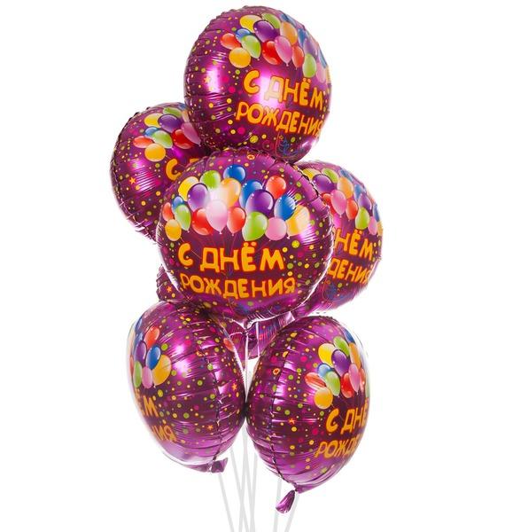 Букет шаров С Днем Рождения (7 или 15 шаров) – фото № 1