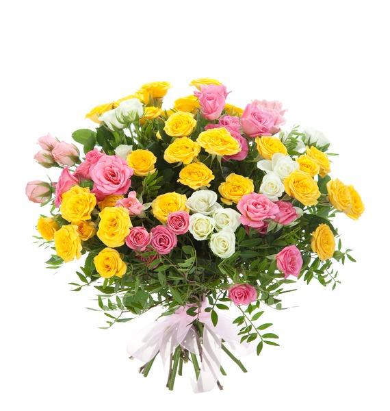 Букет из 15 кустовых роз Пушинка – фото № 1