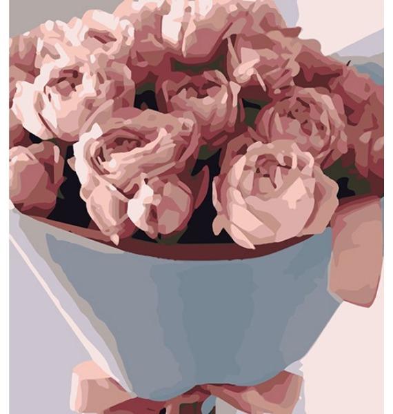 Картина по номерам Букет из роз букет из роз в подвесном кашпо из ротанга
