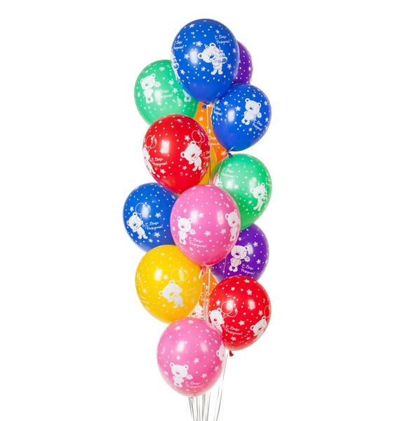 плюшевый мишка боня Букет шаров С Днём Рождения! (Плюшевый мишка) (15 или 31 шар)