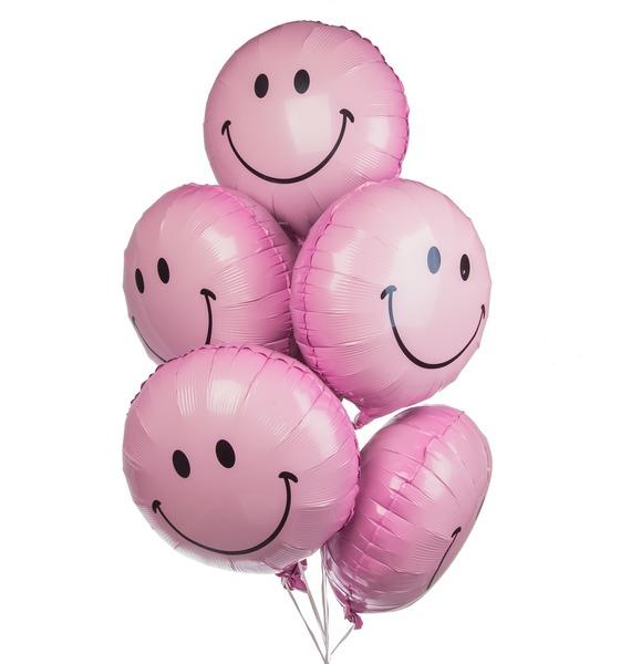 Букет шаров Розовый смайл (7 или 15 шаров) набор шаров стекло 80мм 6шт розовый