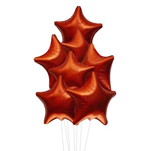 """Букет шаров """"Оранжевые звёзды. Голография"""" (7 или 15 шаров)"""
