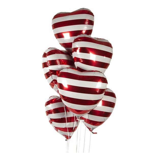 Фото - Букет шаров Полосатые сердца (7 или 15 шаров) букет шаров красные сердца 9 или 18 шаров