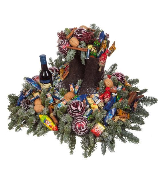 Композиция Новогодние сладости (Красное вино в подарок) – фото № 4