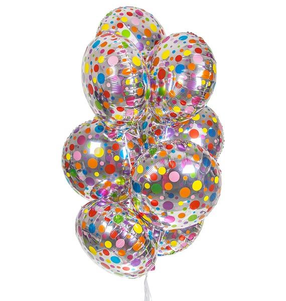 Букет шаров Разноцветные точки (9 или 18 шаров) букет шаров россия 9 или 18 шаров