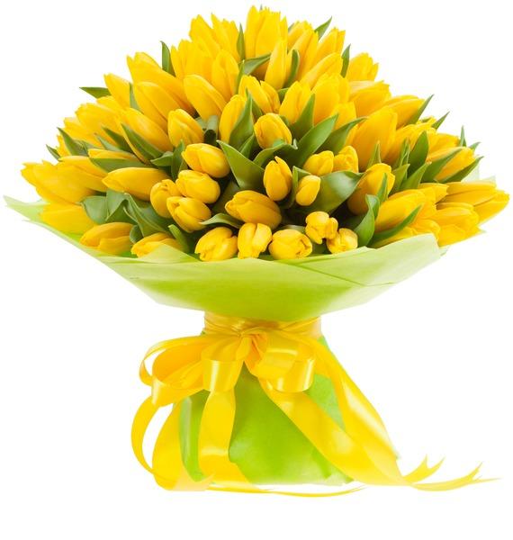 Букет из тюльпанов Солнечный сюрприз (25, 51, 101) – фото № 2