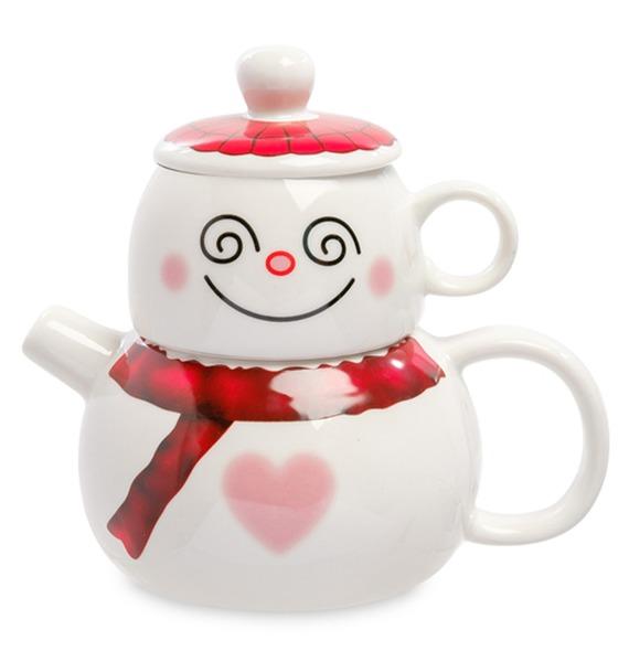 Набор из кружки и чайника Романтичный снеговик песочный набор нордпласт снеговик 12
