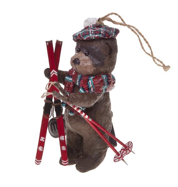авторская игрушка ручной работы мишка тедди с любовью Ёлочная игрушка ручной работы Мишка на лыжах