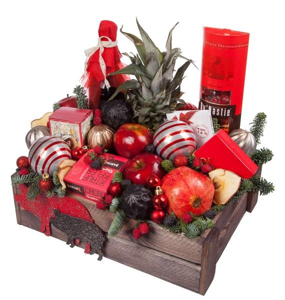 Подарочное кашпо Новогодняя эйфория (Красное вино в подарок) – фото № 5