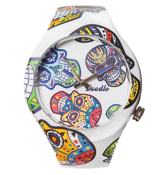 Часы Doodle Белый череп часы doodle мультяшный кот