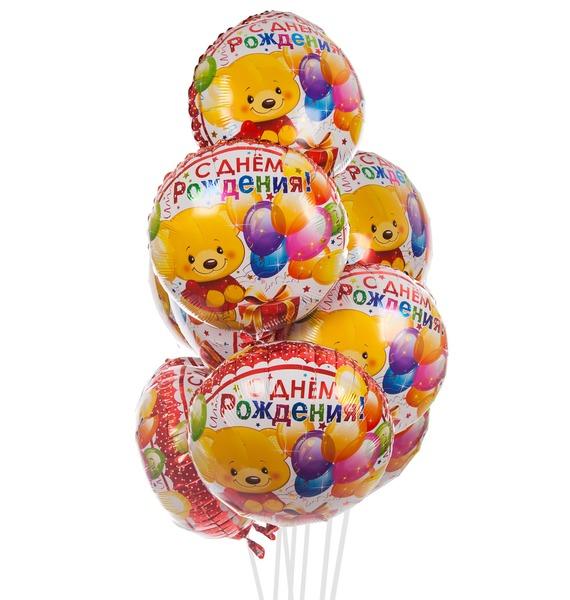 Букет шаров Мишка с подарком (7 или 15 шаров)