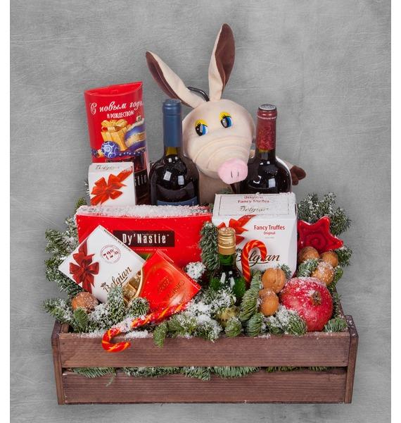 Подарочное кашпо Год Хрюшки (Вино в подарок) – фото № 1