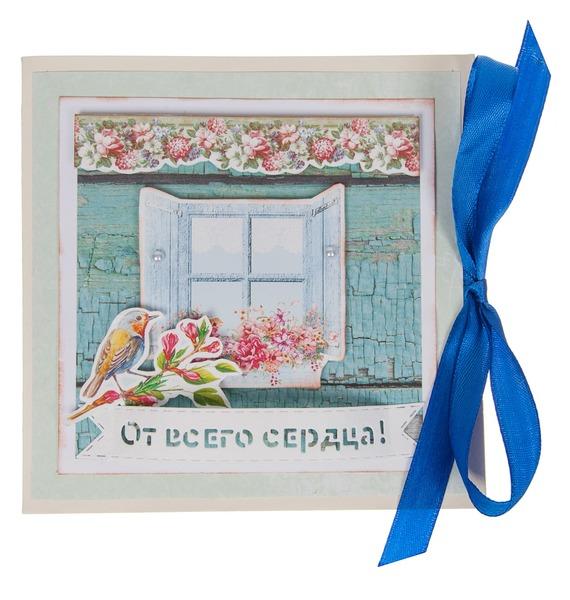 Открытка ручной работы От всего сердца открытка ручной работы роза