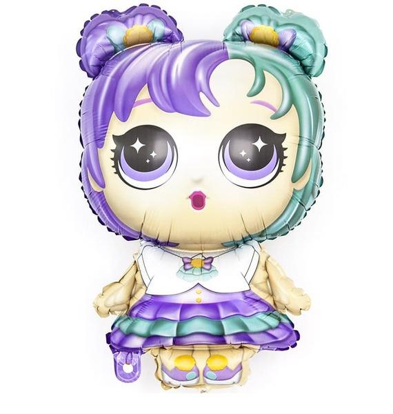 """Воздушный шар """"Модная кукла (разноцветные локоны)"""" (81 см)"""