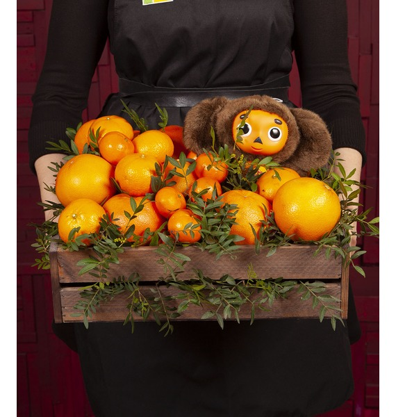 Подарочное кашпо Посылка с апельсинами