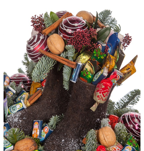 Композиция Новогодние сладости (Красное вино в подарок) – фото № 3