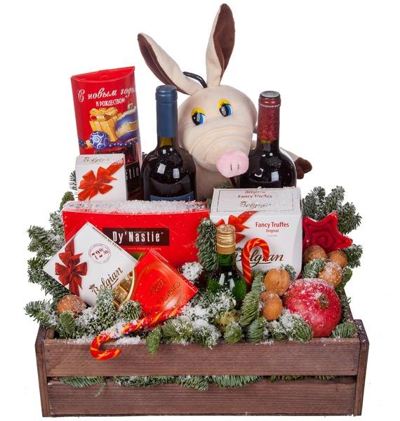 Подарочное кашпо Год Хрюшки (Вино в подарок) – фото № 5