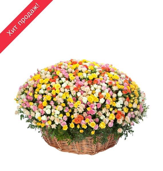 Композиция из кустовой розы (101, 251 и 501 роза) ковш idea деко розы 1 5 л