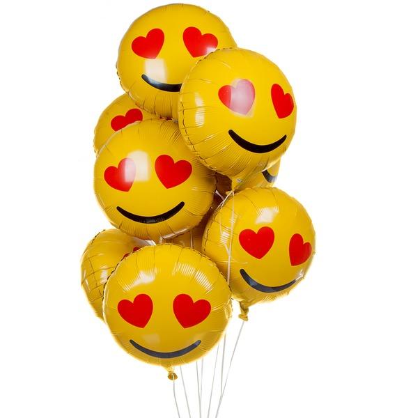 """Букет из 9 шаров """"Влюбленный Смайл"""" последний пылкий влюбленный"""