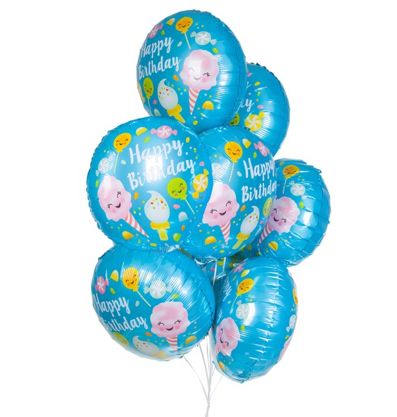 """Букет шаров """"С Днём Рождения! (Сладости)"""" (7 или 15 шаров)"""