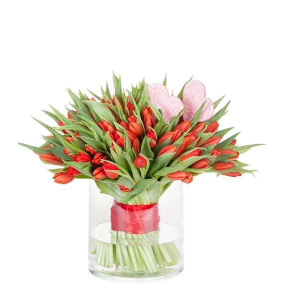 Букет из тюльпанов Пламенная любовь (51 или 101) – фото № 2