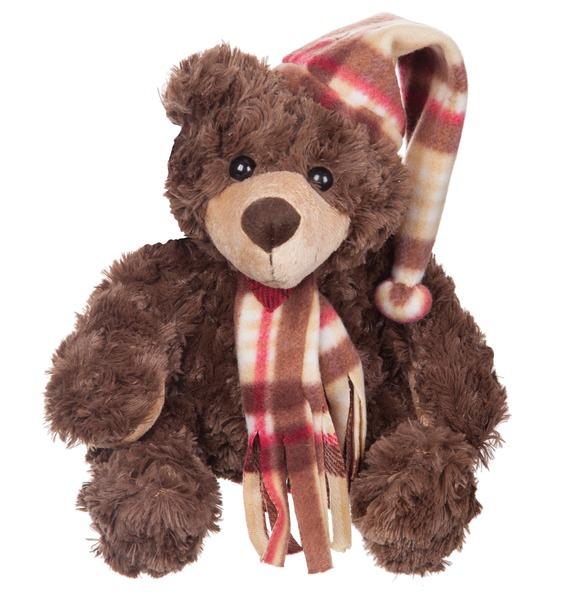 """Мягкая игрушка """"Мишка Джаспер в шапке и шарфе"""" (23 см)"""