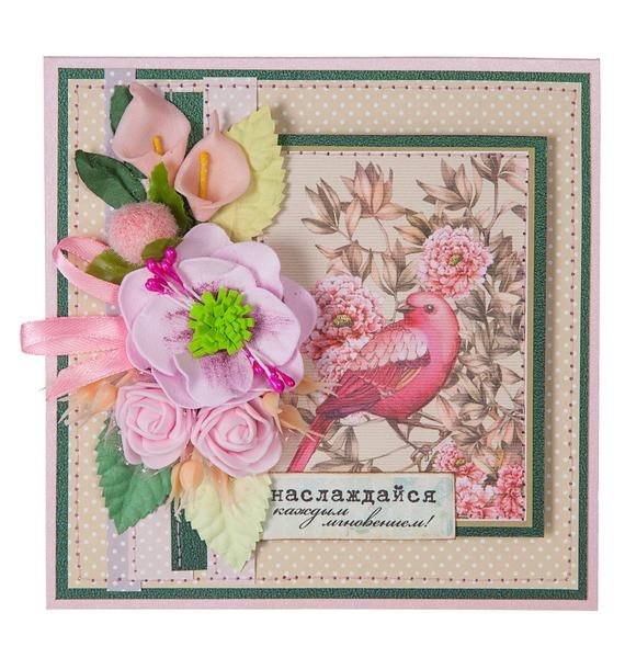 Открытка ручной работы Наслаждайся каждым мгновением! открытка ручной работы роза